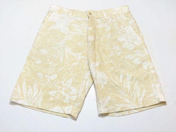 Tori Richard 34 Mens Linen Cotton Blend Shorts Beige Khaki Floral Print Hawaiian #ToriRichard #CasualShorts