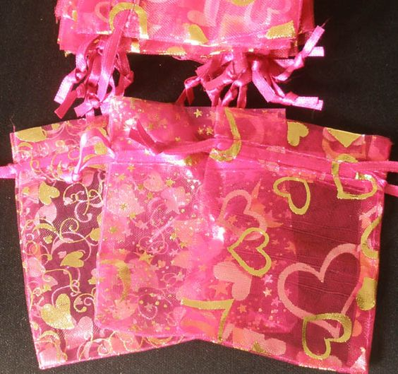 Rose Red 2.7x3.5inch(7x9cm) Organza Bag Pouch for Gift Jewelry with Printed Pattern by www.ig-cn.com, $11