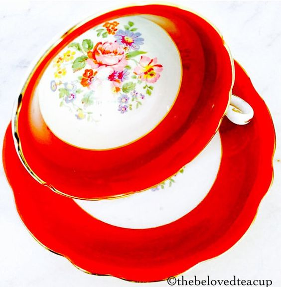 Foley Poppy Red Rose Floral Glossy 1940's by TheBelovedTeacup