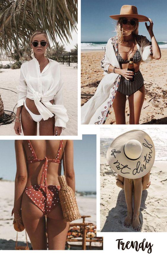 Tendências Moda Praia Verão 2019: saída de praia + acessórios de praia