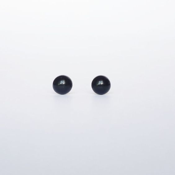 6 mm Small Black Round Stud Earrings  Ear Posts  Mens by HipCrafts, $7.99 #small #black #round #posts #stud #earrings