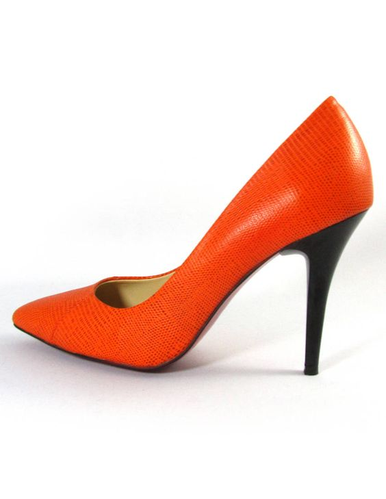 orange shoes!  http://www.clubcouture.cc/mandarine-reptile-print-leather-pumps