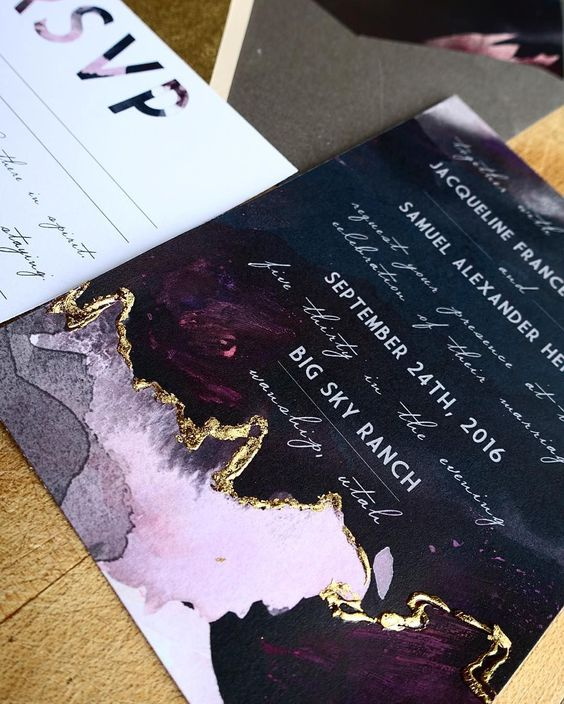 This edgy card with a touch of gold foiling is a unique and beautiful way to invite guests!