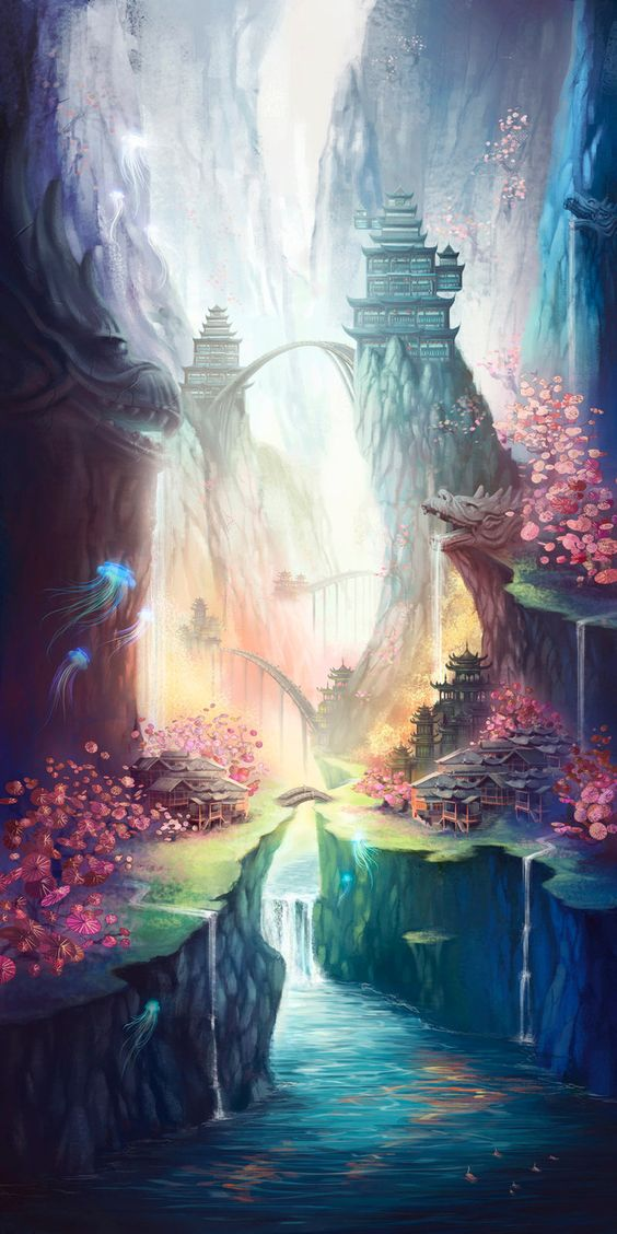 I really like art like this. Perhaps this would be in one of the districts in Evermore. It certainly seems like Aetheling style.: