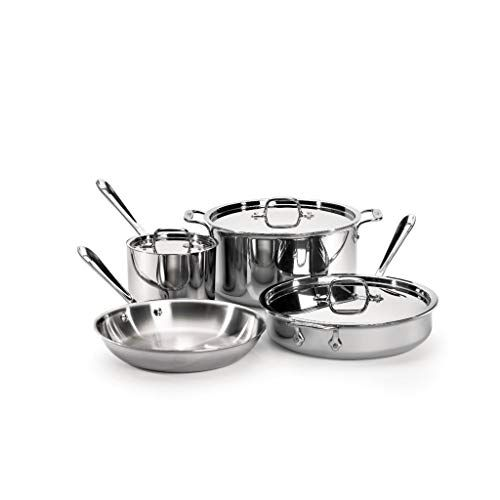 All Clad Tri Ply Stainless Steel 7 Piece Cookware Set All Clad Cookware Set Cookware Set Stainless Steel Dishwasher Safe Cookware All clad 7 piece set