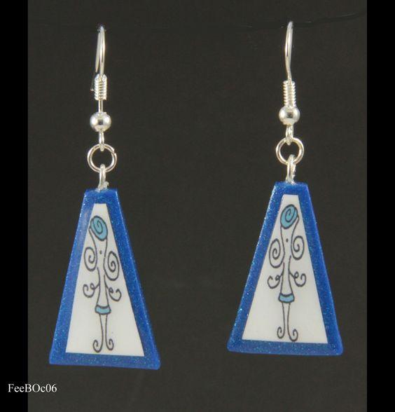 """Boucles d'oreilles triangulaires - collection """"La Fée"""" : Boucles d'oreille par doremifasolafimo"""