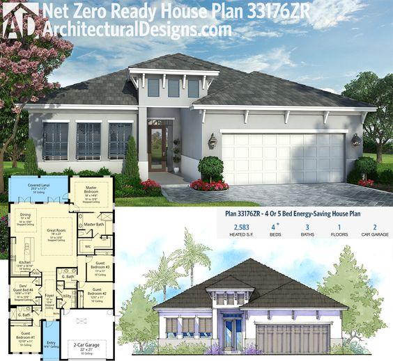 Plan 33176ZR: 4 Or 5 Bed Energy-Saving House Plan