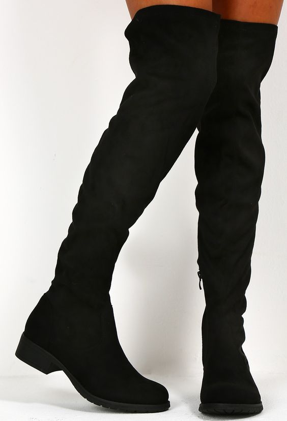 Jeanne Black Suede Effect Flat Over The Knee Boots