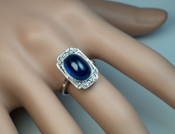 French Art Deco Sapphire Engagement Ring by RomanovRussiacom on Etsy https://www.etsy.com/listing/244797622/french-art-deco-sapphire-engagement-ring