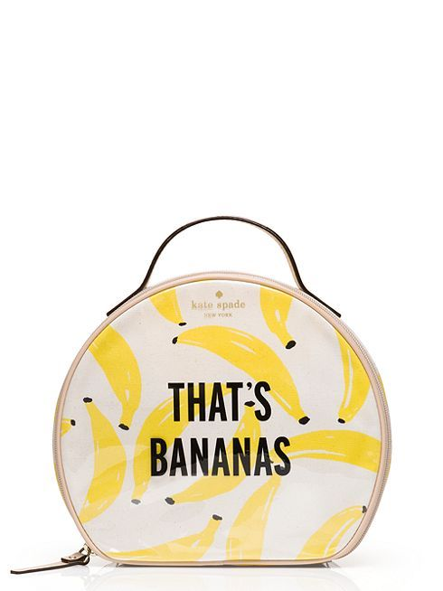 a classic circle-shaped cosmetics case emblazoned with a bright, witty print (not to mention the cheeky motto), our banana miri is both playful and practical.