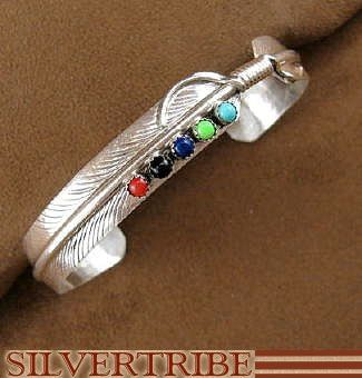 Native American Navajo Indian Multicolor Sterling Silver Feather Cuff Bracelet AS7909