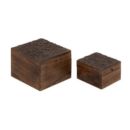 Featuring charming carved tops, this pair of wood boxes adds a rustic touch to your vanity or dresser top.Product: Small and l...