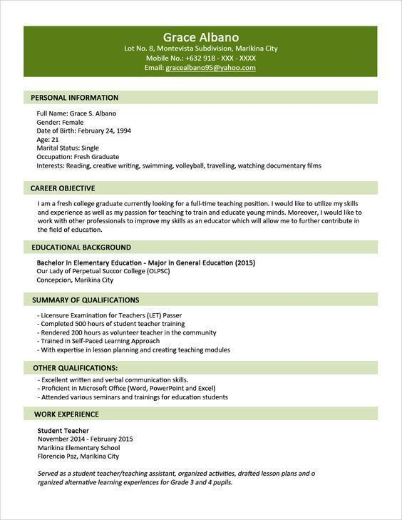 40 Cool And Elegant Resume Sample For Fresh Graduate You Must See Cool Elegant Fresh Sample Resume Format Resume Format For Freshers Sample Resume Templates