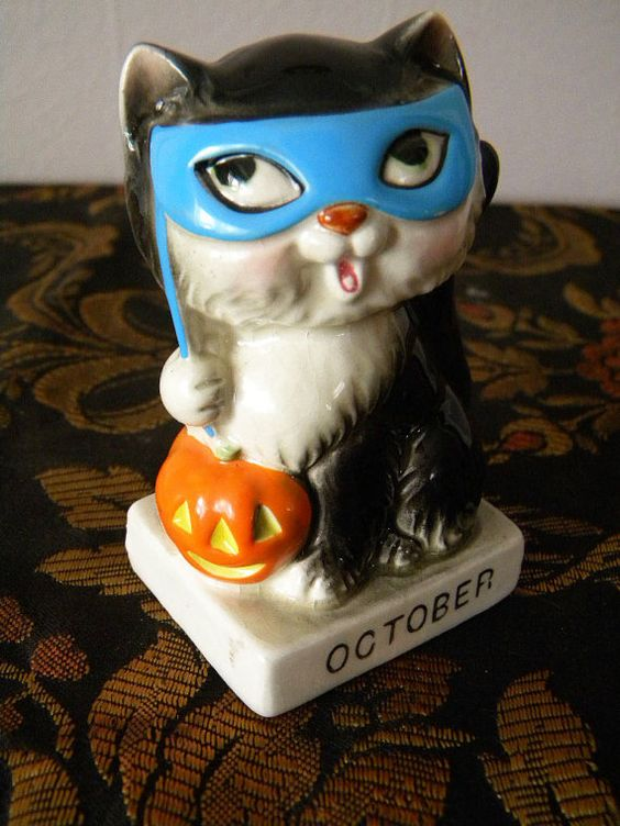 Vintage Norcrest Halloween Kitten October Cat: