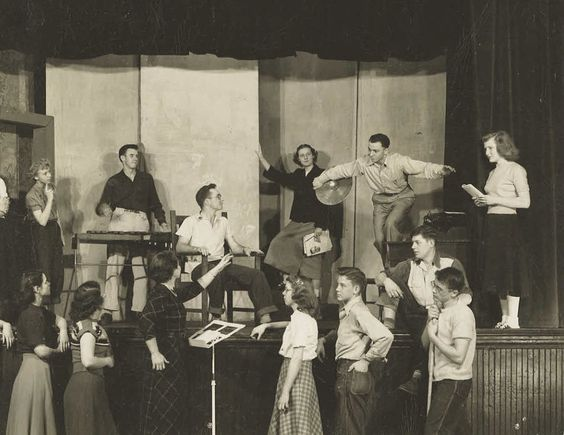 James Dean (bottom far right) is practicing for a play at his high school in Fairmount, Indiana.