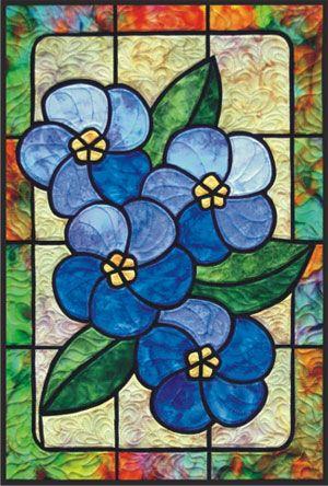 3 Blue Tulips Leaded Stained Glass Window Custom Design