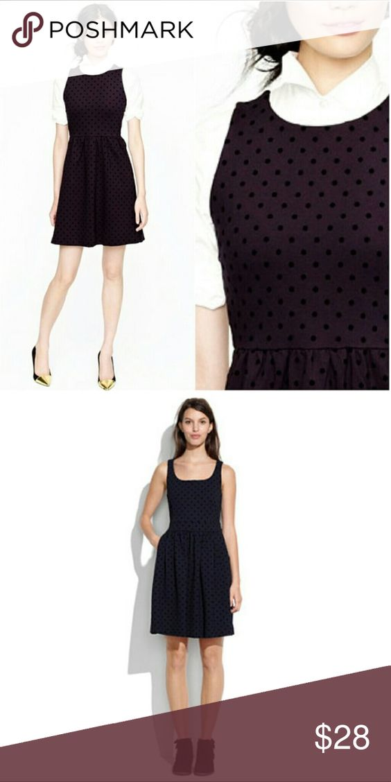 J crew perfect black dress 65% viscose, 30% nylon, 5% spandex. Like new!!!! Perfect for fall/winter. Comfortable and chic. Has adorable velvet polkadot details. Has stretch! J. Crew Dresses Midi
