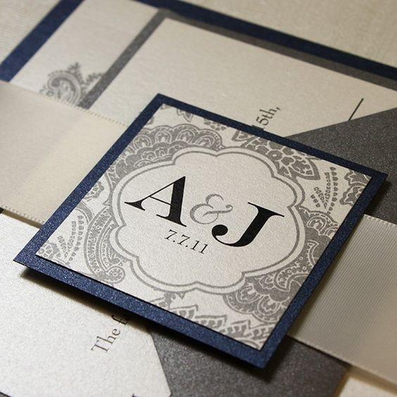 Silver Wedding Invitations Pinterest: Wedding Invitation Blue Silver Bellevue Ribbon By