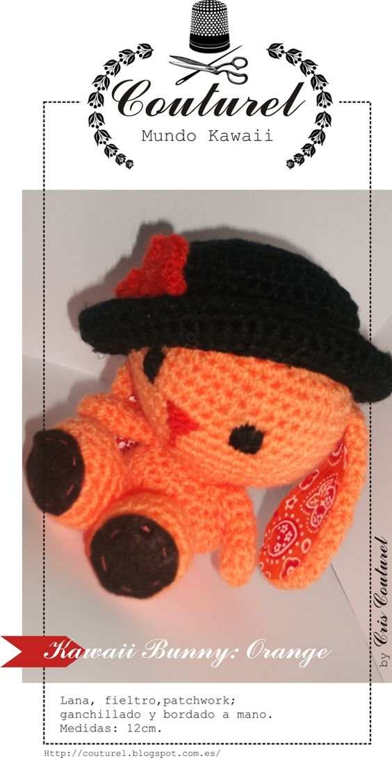 Kawaii bunny: orange, by Couturel