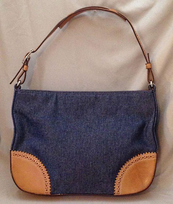 Coach Small Girlie Denim & Tan Leather Shoulder Bag - K0K-8141 #Coach…