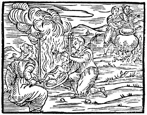 Grabado del Compendium maleficarum (1608) de Francesco Maria Guazzo que muestra la preparación del banquete del sabbat