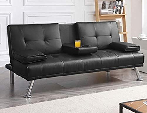Buy Faux Leather Futon Sofa Bed Convertible Sofa Bed Sleeper Black 67 Inch Wide You Can Lounge During The Day Or Host Guests Overnight If Need It Online In 2020 Futon Sofa Bed Futon