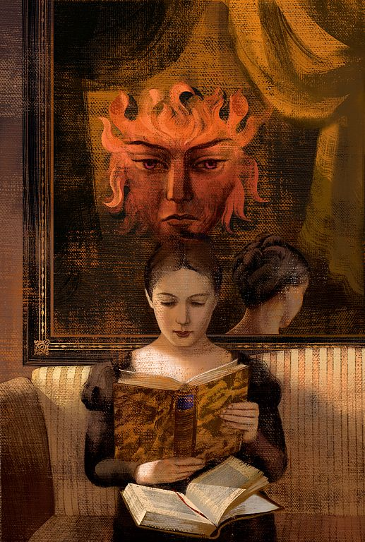 "Illustration from ""Eugene Onegin"" (Alexander Pushkin, illus. by Anna & Elena Balbusso). I love how this is both ""art in a book"" and ""a book in art"".:"