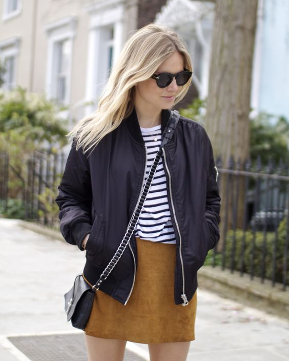 yellow short skirt, striped tee, baggy jacket, sunglasses: