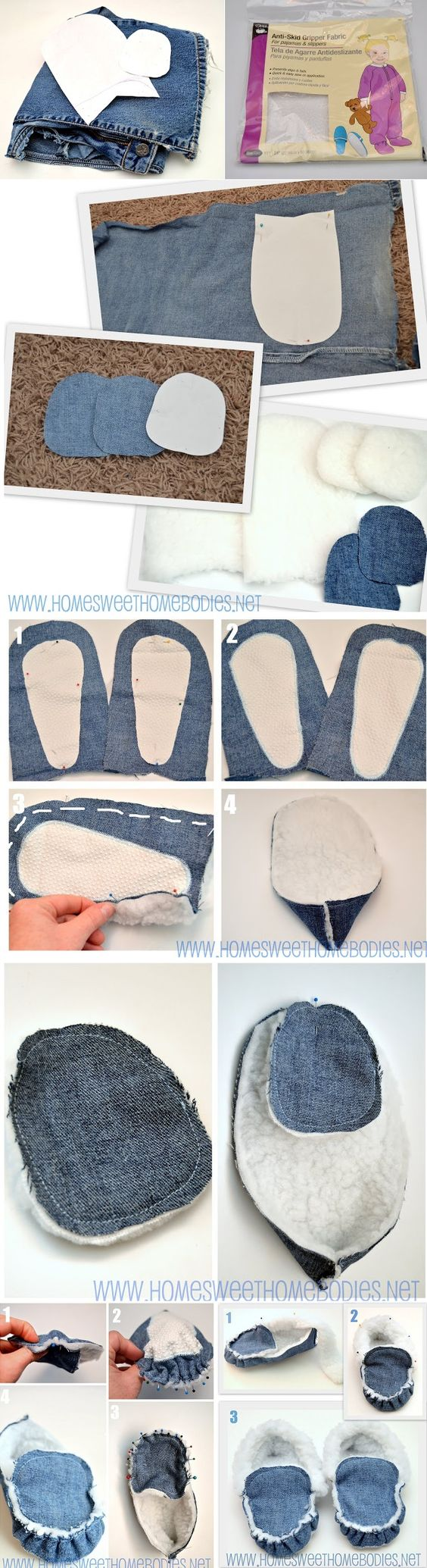 Acogedora Denim Zapatilla-Mocasines - DIY:
