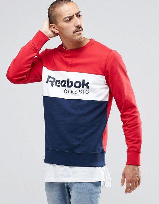 Reebok Archive Stripe Crew Sweatshirt In Red AY0823 | BANNER
