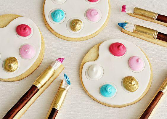 Artist's Palette & Paintbrush Cookies