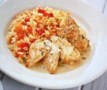 Hähnchen mit Paprika-Möhren-Reis & Sauce