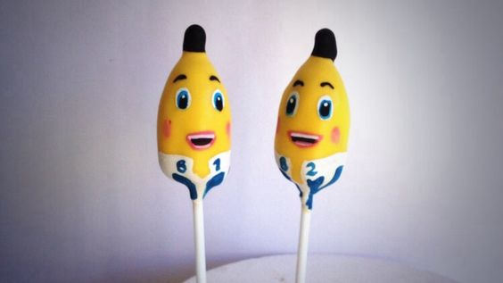 Bananas in pyjamas Cake Pops