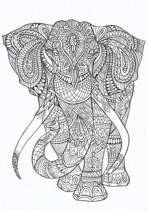Elephant Abstract Doodle Zentangle ZenDoodle Paisley Coloring pages colouring adult detailed advanced printable Kleuren voor volwassenen coloriage pour adulte anti-stress kleurplaat voor volwassenen: