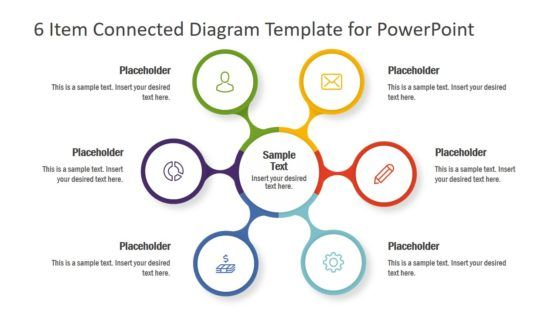 6 Item Connected Diagram Template For Powerpoint Powerpoint Templates Powerpoint Infographic Layout