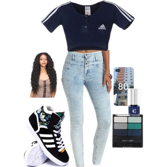 . by kaylajayboo on Polyvore featuring polyvore fashion style adidas Charlotte Russe Wet n Wild