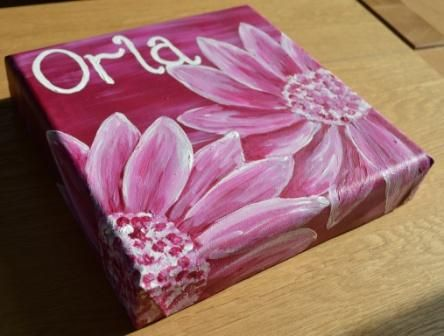 Hand Painted, Personalised Canvas- 20cm - The Supermums Craft Fair