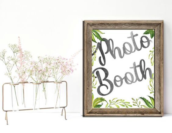 Photo Booth Wedding Sign Printable Garden Greenery by PucciPaperie