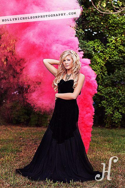 Pink smoke bombs! So cool! This would make a really cute senior photo.