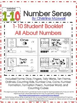 Included Forms:Dice, Fingers, Tally Marks, Ten Frame, Ordinals ...