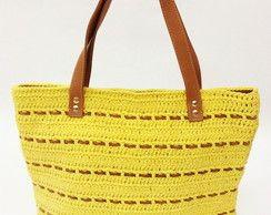 Bolsa amarela crochet ecológico e couro