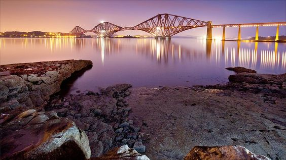 Evening on the Forth Road Bridge, Scotland.