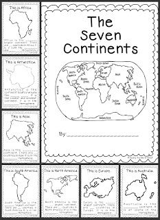 """FREE!! It's a Small World - Continent Study!....Follow for Free """"too-neat-not-to-keep"""" teaching tools & other fun stuff :)"""