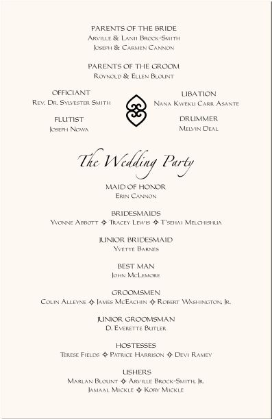 Wedding program templates free african program for Sample wedding programs templates