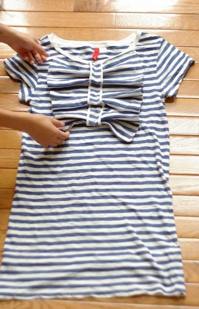DIY Striped Dress made from 2 t-shirts