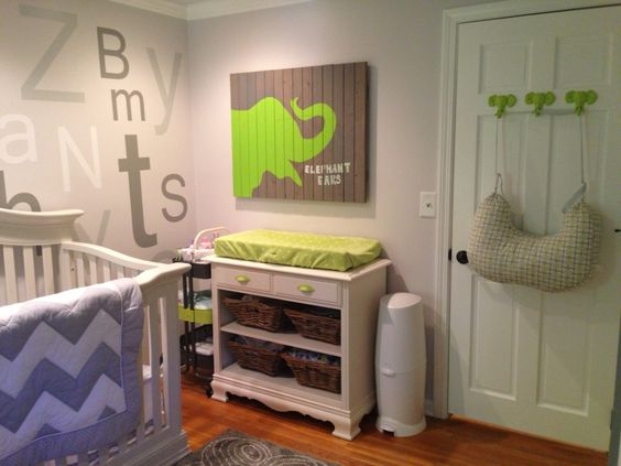 Elephant-themed nursery: Elephant Nursery, Kids Room, Boy Nursery, Green Elephant, Baby Rooms, Baby Boy, Gray Nursery, Baby Stuff, Gray Nurseries