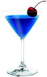 Gummy Worm Martini    (•1 1/2 oz Three Olives Mango Vodka  •1 1/2 oz Three Olives Raspberry Vodka  •1/2 oz blue curacao  •1 oz lemon-lime soda  •maraschino cherry for garnish)
