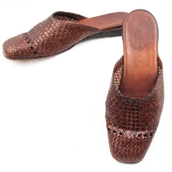 Sesto Meucci #WomensShoes #WovenShoes Braided Slip Ons Mules Sz 6 M Leather Slides Italy #SestoMeucci #Mules #SomeLikeItUsed