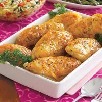 Recette Poulet rôti au miel et moutarde, 1. Dans un petit bol, mélanger les ingrédients de la marinade.2. Dans un plat peu profond, étaler les morceaux de poulet. Verser la marinade, couvrir et réfrigérer pour une douzaine d'heures.