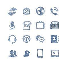Communication icons media symbols set vector art illustration